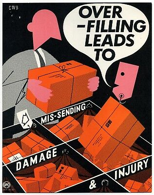 "1960's GPO small Internal Information poster ""OVER-FILLING LEADS TO…"" - CWB"