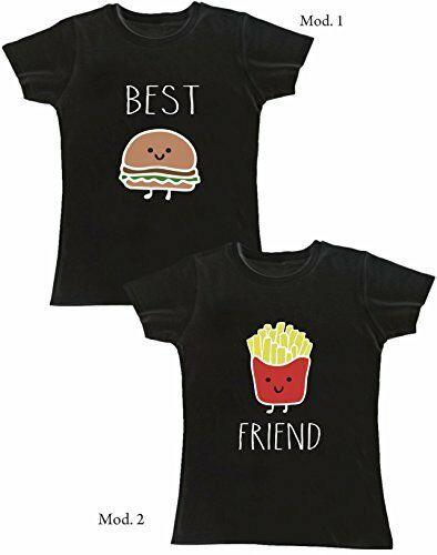 COPPIA T-shirt magliette DONNA top qualità - BEST FRIEND PANINO PATATINE