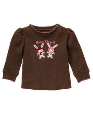 NWT Gymboree Girls Alpine Sweetie Brown Bunny Top Size 12-18M & 5T