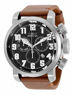 Invicta Men's Aviator Stainless Steel Quartz Watch with Leather Strap, Brown, 26