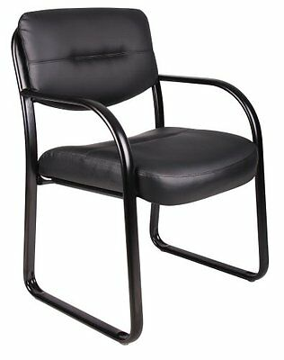 "Boss Office Products Leather Sled Base Side Chair With Arms 20"" W X 20"" D B9529"