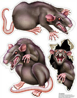 RATS wall stickers 3 big decals scary mean looking rodents Halloween Dead - Mean Girls Halloween Party