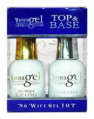 Wonder Gel (Wonder Gel UV/LED Soak off Gel (No-Wipe) Top Coat + Base Coat Duo ON)