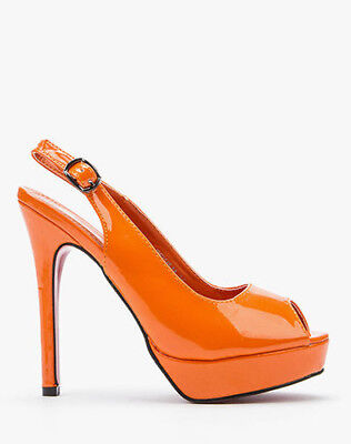 SIZE 2 3 4 ORANGE PATENT HIGH HEEL SLINGBACK COURT SHOES SANDALS NEW Patent 3 3/4