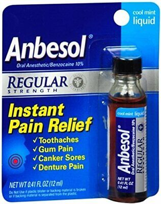 Anbesol Regular Strength Cool Mint Liquid Instant Pain Relief .41 oz (Pack of 2) Liquid Cool Mint