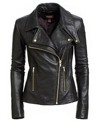New Women's Black Slim Fit Biker Style Moto Real Leather Jac