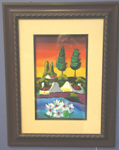 Framed Original Painting by African Artist Flowers and Houses