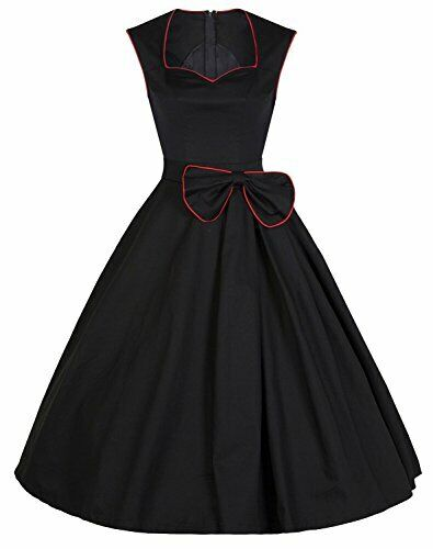 YACUN Women's Vintage Black 1920s Rockabilly Swing Cocktail Party Dress All Size Clothing, Shoes & Accessories