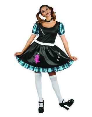 Ladies Womens Voodoo Rag Doll Fancy Dress Costume Outfit Halloween Uk 12-14