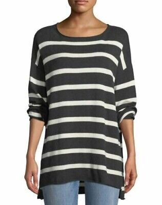 Eileen Fisher Peruvian Organic Cotton Soft White Stripe Tunic Sweater sz M NWT