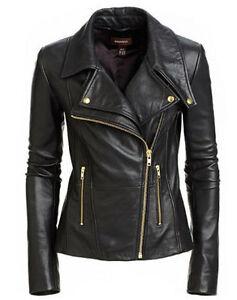 New-Women-039-s-Black-Slim-Fit-Biker-Style-Moto-Real-Leather-Jacket