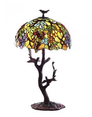 Warehouse of Tiffany Tiffany-style Grapes/ Birds Mosaic Table Lamp