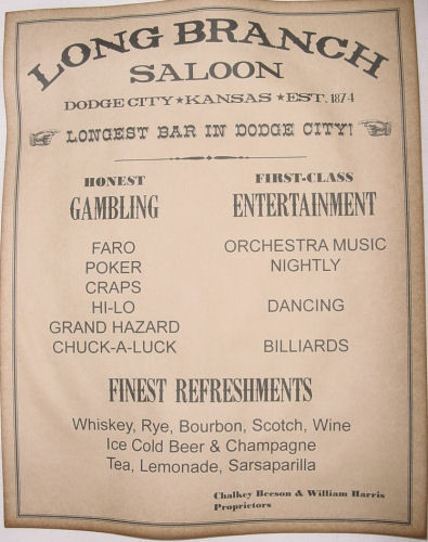 Long Branch Saloon Ad Poster, Dodge City, Kansas, old west, western, wanted
