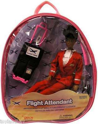Flight Attendant Doll Red Uniform African American 11 W Backpack Retired