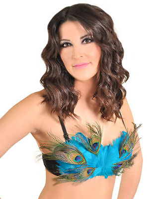 Burlesque Showgirl Turquoise Blue Rave Showgirl Peacock Costume Bra Top A B C - Womens Peacock Costume