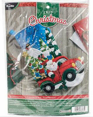 Bucilla Felt Stocking Kit, The Christmas Drive, 18in embroidery, XMAS, applique