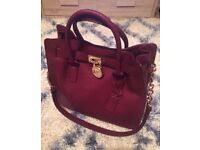 Michael Kors Claret Red Large Hamilton Bag with MK dust bag Saffiano Leather Tote