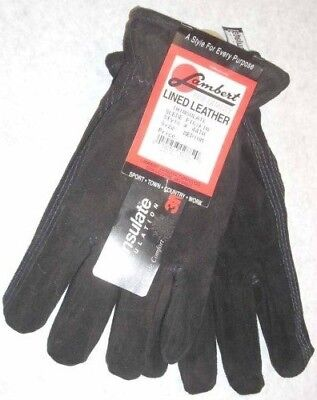 Medium Leather Glove - Lambert 44TH Black Suede Pig Leather Gloves 3M Thinsulate Lined Medium