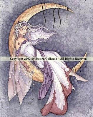 # JESSICA GALBRETH Fairy Decor MOON DREAMING Fairie Wall Art CERAMIC TILE 8x10