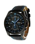 Mens Seiko Watches Leather Strap
