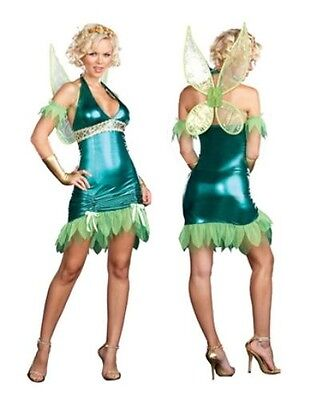 Tinkerbell Green Fairy Dreamgirl Fancy Dress Costume Outfit Size 6-8 P6632](Green Fairy Outfit)