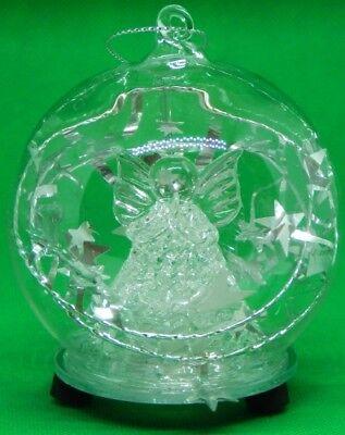 LED Glas Kugel klar mit Engel und Stern, , Weihnachtsschmuck, Christbaumschmuck