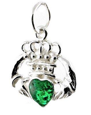 Green Claddagh Charm - STERLING SILVER GREEN ENAMEL IRISH CLADDAGH CHARM