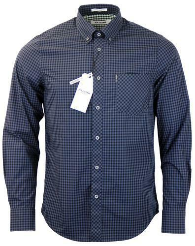 SCONTO 40% BEN SHERMAN CAMICIA GINGHAM CHECK SHIRT MA10113 XS S XXL MOD FIT