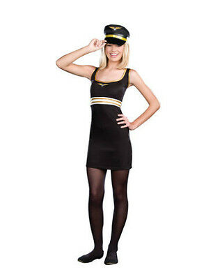 Juniors Pilot Costume Fancy Dress Blue Gold Hat Badge Petite Girls Tween Teen