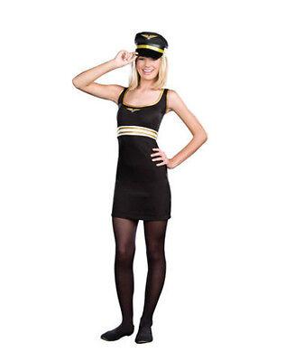 Juniors Pilot Costume Fancy Dress Blue Gold Hat Badge Petite Girls Tween Teen  - Tween Girls Costumes