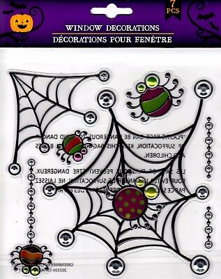Halloween Window Cling Stickers 7 Count ~ Spiders & Webs  (Halloween Windows 7)