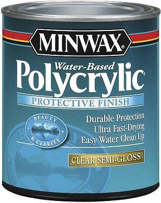Minwax 64444 Semi Gloss Polycrylic Protective Finishes, 1 Quart, New, Free Shipp