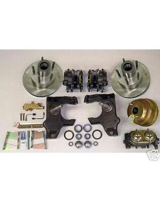 """1958 - 1964 Chevy Full Size Car Impala Power Disc Brake Kit 2"""" Drop Plain Rotors"""
