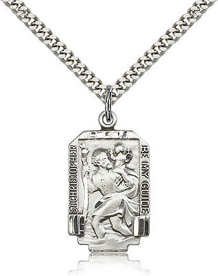 Mens Sterling Silver Saint Christopher Medal 1 X 5 8 Pendant Necklace 24  Chain