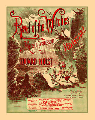 1905 REVEL OF THE WITCHES 8x10 Vintage Halloween sheet music cover Art print