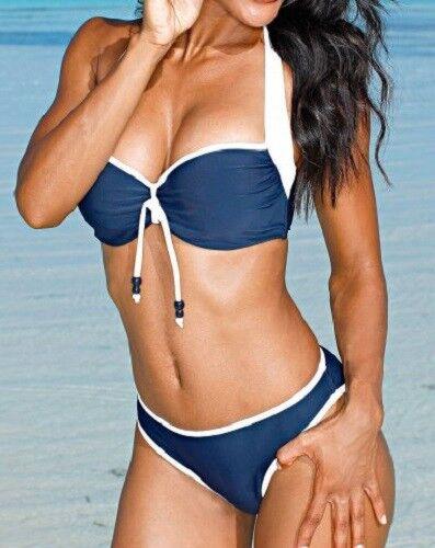 Damen Bikini Gr. 40 42 44 Cup F blau / weiß Neckholder mit Bügel und Polster