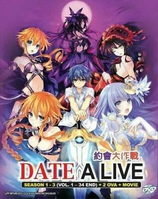 Date A Live (Season 1-3) DVD (Vol 1 34 End+2 OVA+Movie) with English (Date A Live Ova 1 English Dub)