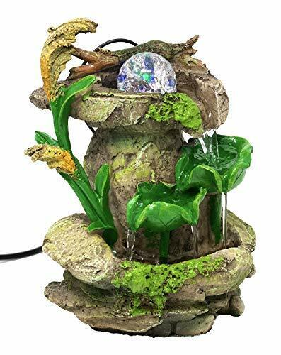 Tabletop Fountain Forest Waterfall Cascading Lotus Leaves