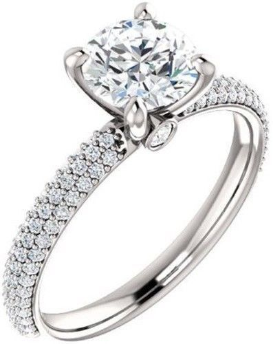 GIA report 1 carat Round Diamond Engagement Wedding 14k White Gold Ring F VS1