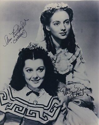ANN RUTHERFORD EVELYN KEYES SIGNED AUTOGRAPHED GONE WITH THE WIND BW 8X10