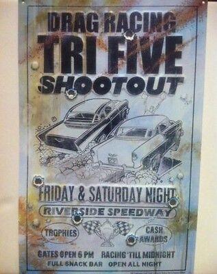 """Tri Five Shootout Drag Racing"" New METAL ""Garage Decor"" Sign"