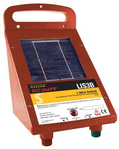 **NEW Solar Power Electric Fence Controller LIS3B,  RED SNAP