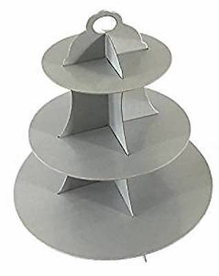 3 Tier Cupcake Stand Cardboard Light Grey Wedding Party Cake Cookie Gray  ()