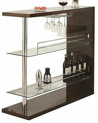 Rectangular 2-Shelf Bar Unit with Wine Holder Glossy Cappuccino, Chrome & Clear