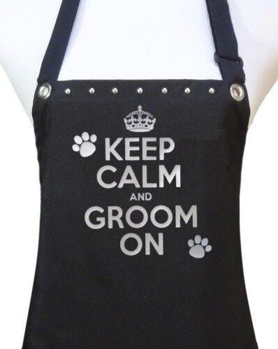 "Dog Grooming Apron ""KEEP CALM GROOM ON"" waterproof salon pet groomer dog wash"