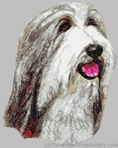 Embroidered Ladies Short-Sleeved T-Shirt - Bearded Collie DLE1477