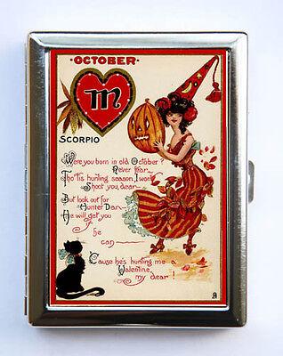 Halloween Cigarette Case Wallet October Horoscope Scorpio retro witch cat](Halloween Horoscope)