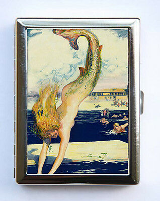 Mermaid Diving Cigarette Case Wallet Business Card Holder art deco
