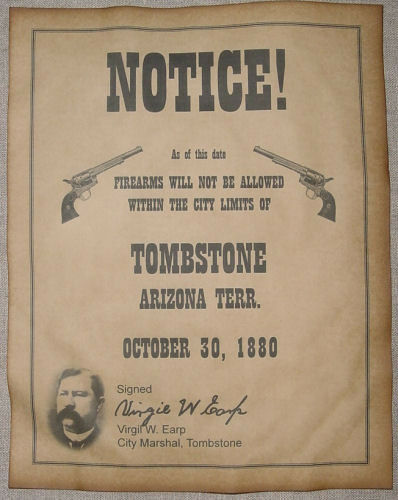 No Firearms in Tombstone Notice Poster, guns, old west, western, wanted