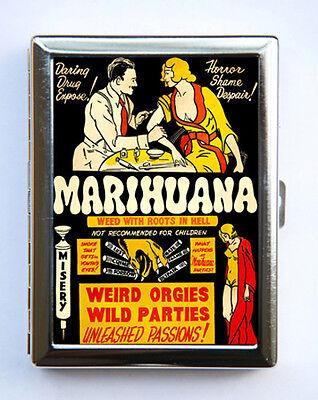 Vintage Marijuana Poster Cigarette Case Wallet Business Card Holder pulp weird